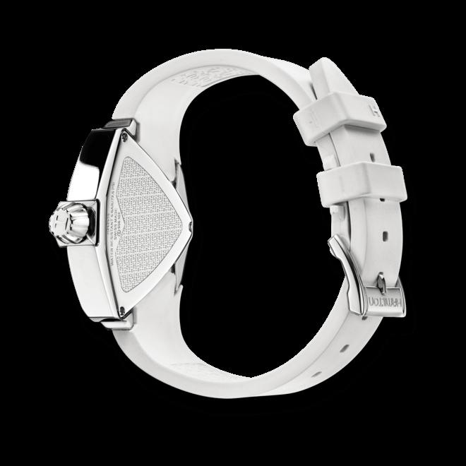 Armbanduhr Hamilton Ventura S Quarz mit perlmuttfarbenem Zifferblatt und Kautschukarmband bei Brogle