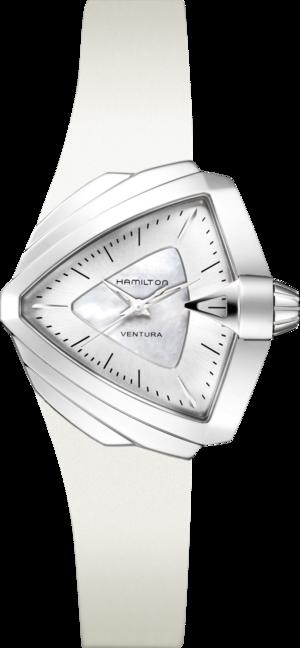 Armbanduhr Hamilton Ventura S Quarz mit perlmuttfarbenem Zifferblatt und Kautschukarmband