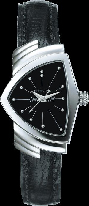 Herrenuhr Hamilton Ventura XS Quarz mit schwarzem Zifferblatt und Kalbsleder-Armband