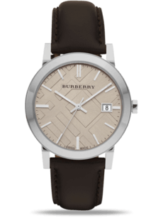 Herrenuhr Burberry The City mit cremefarbenem Zifferblatt und Rindsleder-Armband