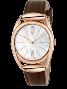 Herrenuhr Gucci Horsebit Quarz 30mm mit perlmuttfarbenem Zifferblatt und Kalbsleder-Armband
