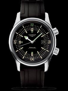 Herrenuhr Longines Legend Diver Automatik 42mm mit schwarzem Zifferblatt und Kautschukarmband