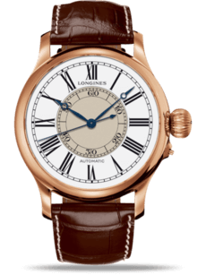 Herrenuhr Longines Weems Second-Setting 47,5mm mit weißem Zifferblatt und Alligatorenleder-Armband