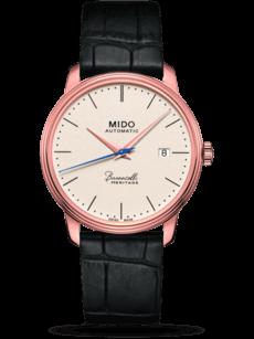 Herrenuhr Mido Baroncelli Automatik 39mm mit champagnerfarbenem Zifferblatt und Kalbsleder-Armband