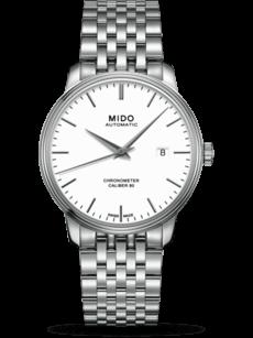 Herrenuhr Mido Baroncelli Automatik 40mm mit weißem Zifferblatt und Edelstahlarmband