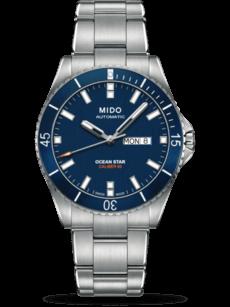 Herrenuhr Mido Captain Automatik 42,5mm mit blauem Zifferblatt und Edelstahlarmband