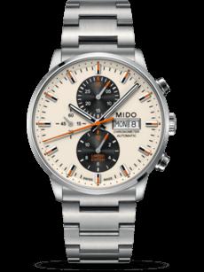 Herrenuhr Mido Commander Automatik Chronograph 42,5mm mit weißem Zifferblatt und Edelstahlarmband
