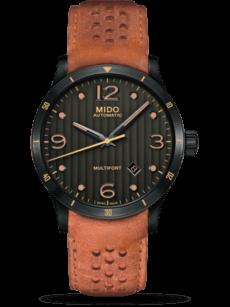 Herrenuhr Mido Multifort Automatik 42mm mit schwarzem Zifferblatt und Kalbsleder-Armband
