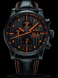 Herrenuhr Mido Multifort Gent mit schwarzem Zifferblatt und Armband aus Kalbsleder mit Krokodilprägung
