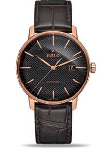 Herrenuhr Rado Coupole Classic XL Automatik mit schwarzem Zifferblatt und Armband aus Kalbsleder mit Krokodilprägung