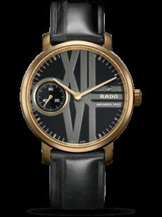 Herrenuhr Rado DiaMaster RHW1 Limited Edition mit schwarzem Zifferblatt und Kalbsleder-Armband