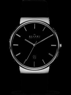 Herrenuhr Skagen Ancher Quarz 40mm mit schwarzem Zifferblatt und Kalbsleder-Armband