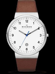 Herrenuhr Skagen Ancher Quarz 40mm mit weißem Zifferblatt und Kalbsleder-Armband