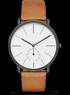 Herrenuhr Skagen Hagen Quarz 40mm mit weißem Zifferblatt und Kalbsleder-Armband