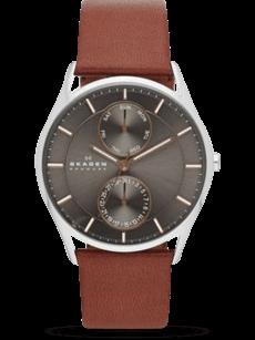 Herrenuhr Skagen Holst Quarz 40mm mit anthrazitfarbenem Zifferblatt und Kalbsleder-Armband