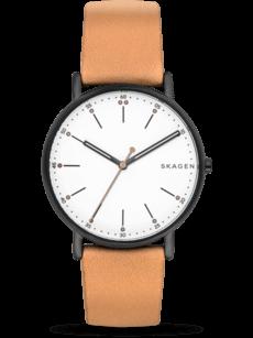 Herrenuhr Skagen Signatur Quarz 40mm mit weißem Zifferblatt und Kalbsleder-Armband