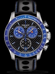 Herrenuhr Tissot V8 Alpine 2017 mit schwarzem Zifferblatt und Kalbsleder-Armband