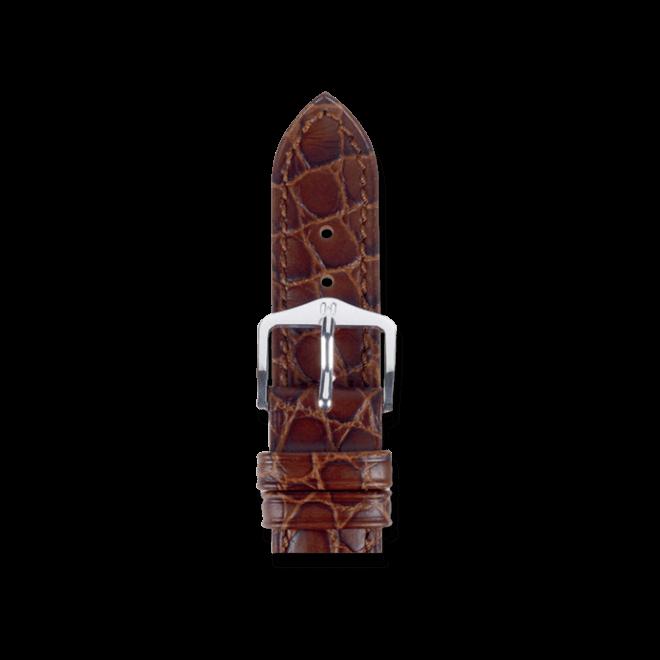 Uhren-Armband Hirsch Aristocrat Braun Uhren-Armband mit silberfarbener Dornschließe | Anstoßbreite 19 mm | Länge 20 cm bei Brogle