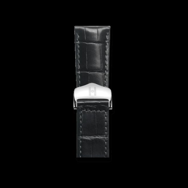 Uhren-Armband Hirsch Attico Schwarz Matt Uhren-Armband mit silberfarbener Faltschließe   Anstoßbreite 21 mm   Länge 19,50 cm bei Brogle