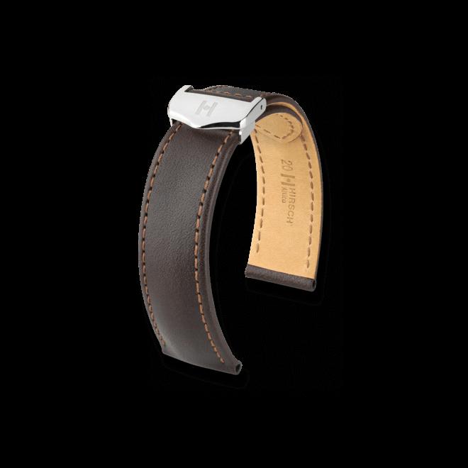 Uhren-Armband Hirsch Attico Schwarz Uhren-Armband mit silberfarbener Faltschließe | Anstoßbreite 20 mm | Länge 19,50 cm bei Brogle