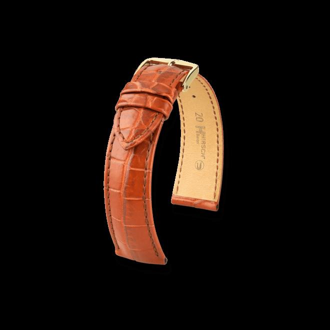 Uhren-Armband Hirsch Baron Goldbraun Matt Uhren-Armband mit silberfarbener Dornschließe   Anstoßbreite 18 mm   Länge 20 cm bei Brogle