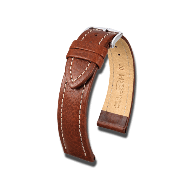 Uhren-Armband Hirsch Buffalo Braun Uhren-Armband mit silberfarbener Dornschließe | Anstoßbreite 20 mm | Länge 18 cm bei Brogle