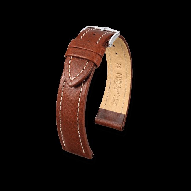 Uhren-Armband Hirsch Buffalo Schwarz Uhren-Armband mit silberfarbener Dornschließe | Anstoßbreite 20 mm | Länge 18 cm