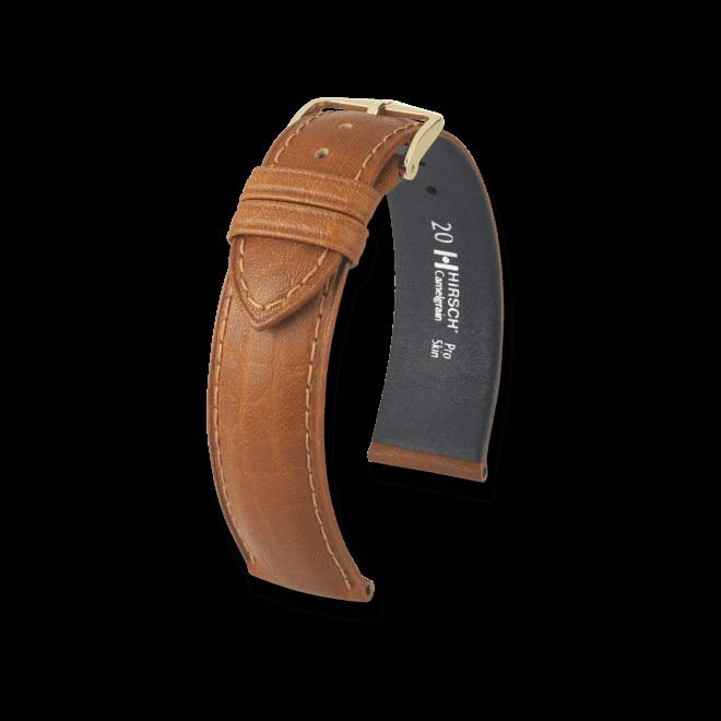 Uhren-Armband Hirsch Camelgrain Schwarz Uhren-Armband mit goldfarbener Dornschließe   Anstoßbreite 20 mm   Länge 20 cm bei Brogle