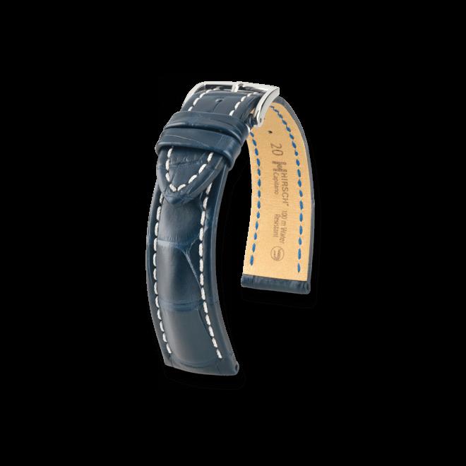 Uhren-Armband Hirsch Capitano Blau Matt Uhren-Armband mit silberfarbener Dornschließe | Anstoßbreite 21 mm | Länge 20 cm bei Brogle