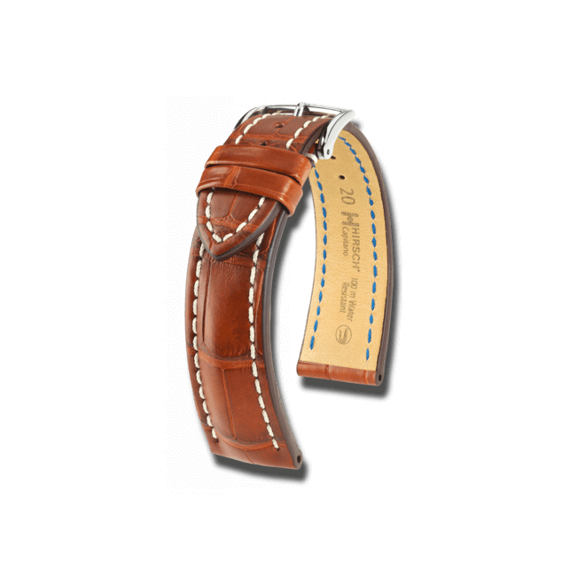 Uhren-Armband Hirsch Capitano Goldbraun Matt Uhren-Armband mit silberfarbener Dornschließe | Anstoßbreite 20 mm | Länge 20 cm bei Brogle