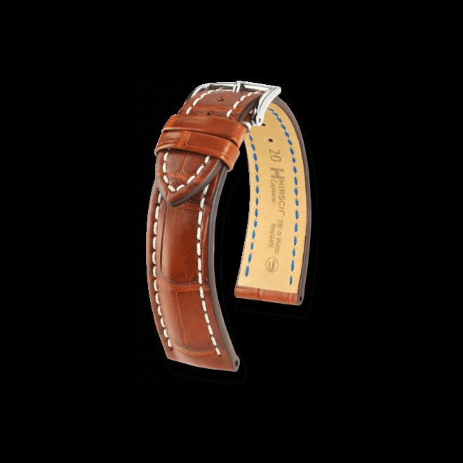 Uhren-Armband Hirsch Capitano Goldbraun Matt Uhren-Armband mit silberfarbener Dornschließe   Anstoßbreite 22 mm   Länge 20 cm bei Brogle