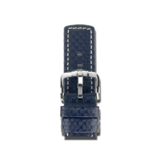 Hirsch Uhren-Armband Carbon Blau 02592080-2-24