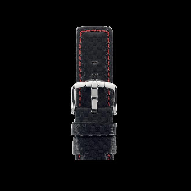 Uhren-Armband Hirsch Carbon Schwarz Uhren-Armband mit silberfarbener Dornschließe | Anstoßbreite 20 mm | Länge 20 cm bei Brogle
