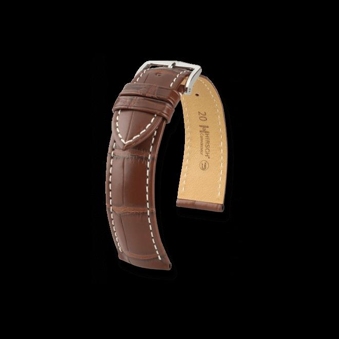 Uhren-Armband Hirsch Connoisseur Goldbraun Matt Uhren-Armband mit silberfarbener Dornschließe | Anstoßbreite 22 mm | Länge 20 cm bei Brogle