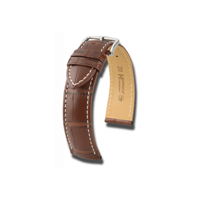 Uhren-Armband Hirsch Connoisseur Schwarz Matt Uhren-Armband mit silberfarbener Dornschließe | Anstoßbreite 21 mm | Länge 20 cm
