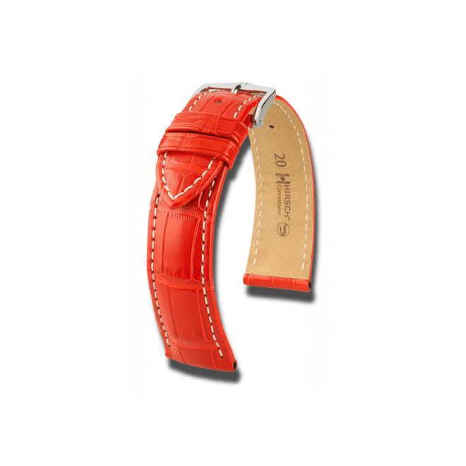 Uhren-Armband Hirsch Connoisseur Türkis Uhren-Armband mit silberfarbener Dornschließe   Anstoßbreite 19 mm   Länge 20 cm bei Brogle