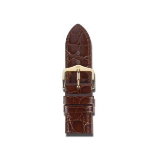 Hirsch Uhren-Armband Crocograin Braun 12302810-1-14