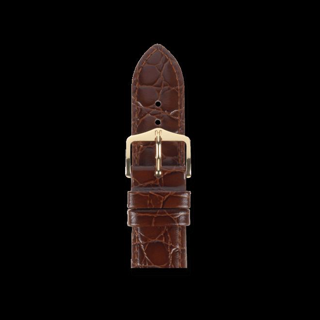 Uhren-Armband Hirsch Crocograin Braun Uhren-Armband mit goldfarbener Dornschließe   Anstoßbreite 15 mm   Länge 18 cm bei Brogle