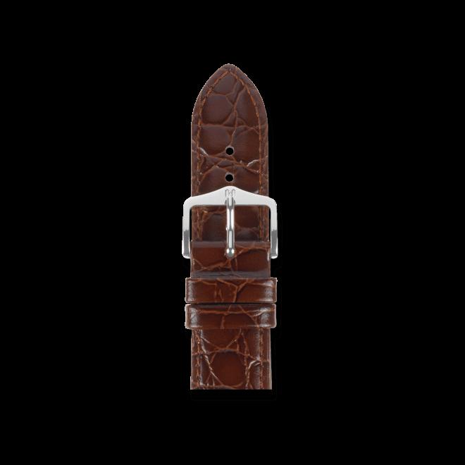 Uhren-Armband Hirsch Crocograin Braun Uhren-Armband mit silberfarbener Dornschließe | Anstoßbreite 20 mm | Länge 20 cm bei Brogle