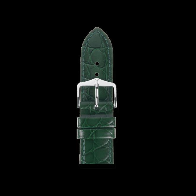 Uhren-Armband Hirsch Crocograin Grün Uhren-Armband mit silberfarbener Dornschließe | Anstoßbreite 20 mm | Länge 18 cm bei Brogle