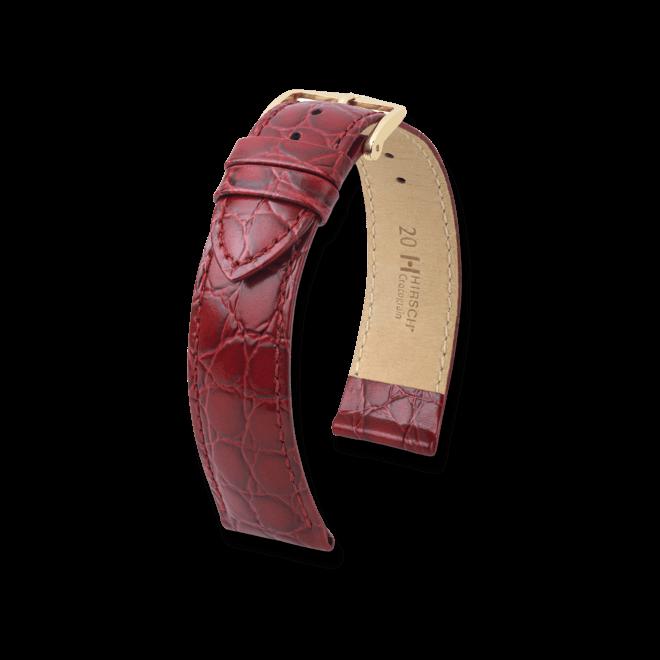 Uhren-Armband Hirsch Crocograin Rot Uhren-Armband mit goldfarbener Dornschließe | Anstoßbreite 14 mm | Länge 18 cm bei Brogle