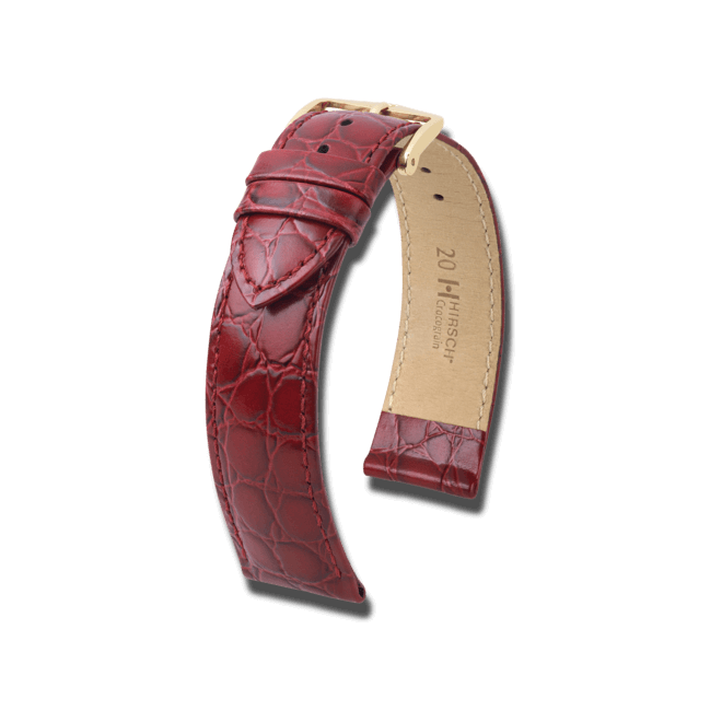 Uhren-Armband Hirsch Crocograin Rot Uhren-Armband mit goldfarbener Dornschließe   Anstoßbreite 18 mm   Länge 18 cm bei Brogle