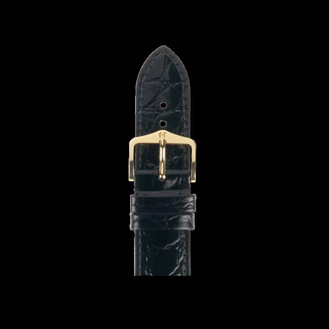 Uhren-Armband Hirsch Crocograin Schwarz Uhren-Armband mit goldfarbener Dornschließe   Anstoßbreite 20 mm   Länge 18 cm bei Brogle