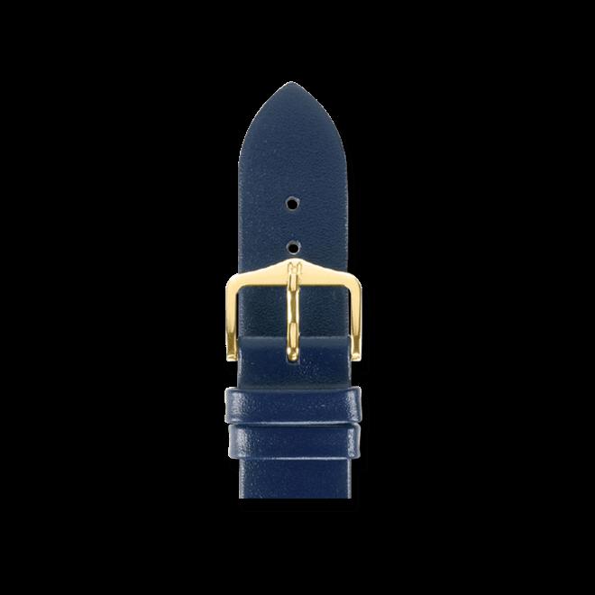 Uhren-Armband Hirsch Diamond Calf Blau Uhren-Armband mit goldfarbener Dornschließe   Anstoßbreite 14 mm   Länge 18 cm bei Brogle