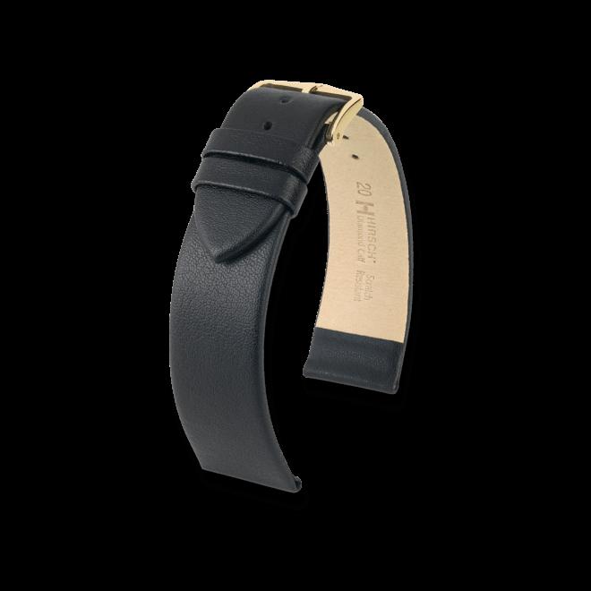 Uhren-Armband Hirsch Diamond Calf Schwarz Uhren-Armband mit goldfarbener Dornschließe   Anstoßbreite 9 mm   Länge 18 cm bei Brogle