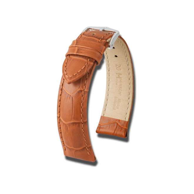 Uhren-Armband Hirsch Duke Schwarz Uhren-Armband mit silberfarbener Dornschließe | Anstoßbreite 22 mm | Länge 22 cm bei Brogle