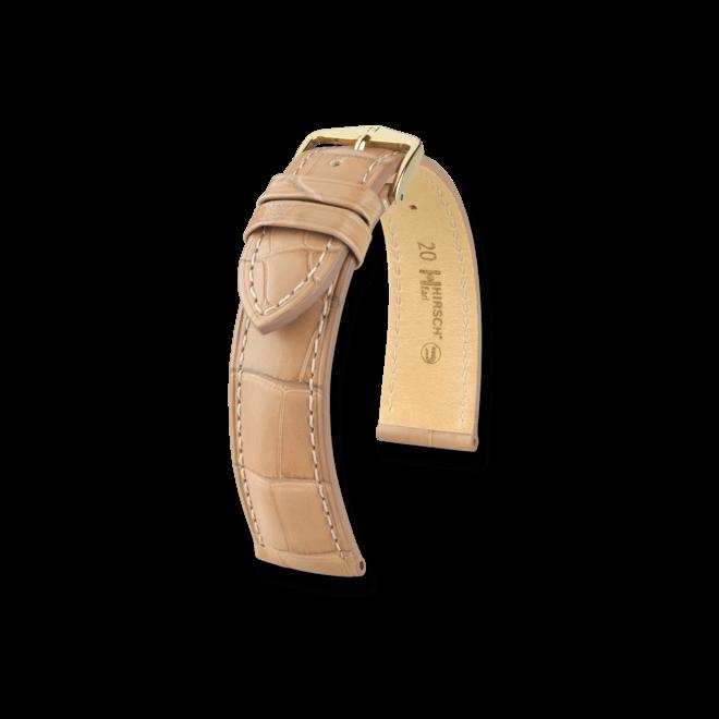 Uhren-Armband Hirsch Earl Beige Uhren-Armband mit goldfarbener Dornschließe   Anstoßbreite 18 mm   Länge 20 cm bei Brogle