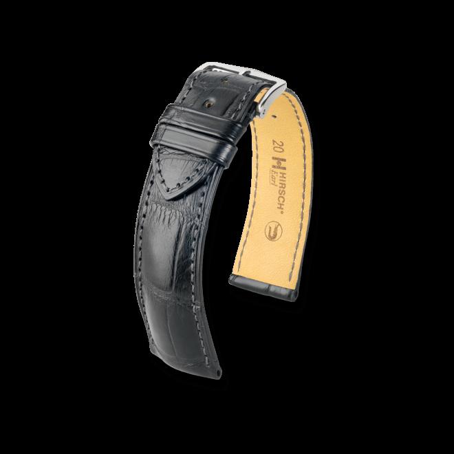 Uhren-Armband Hirsch Earl Schwarz Matt Uhren-Armband mit silberfarbener Dornschließe | Anstoßbreite 20 mm | Länge 20 cm bei Brogle