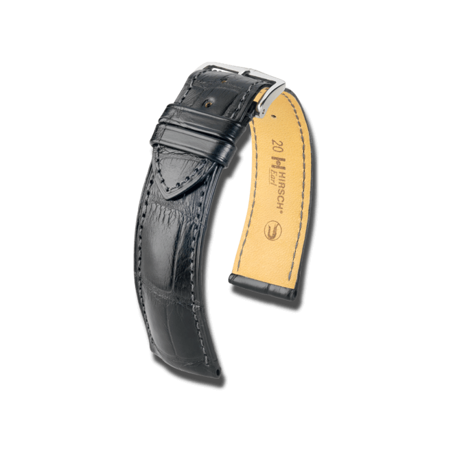 Uhren-Armband Hirsch Earl Schwarz Matt Uhren-Armband mit silberfarbener Dornschließe | Anstoßbreite 24 mm | Länge 20 cm bei Brogle
