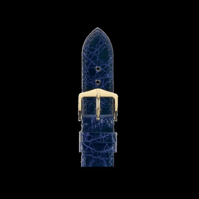 Uhren-Armband Hirsch Genuine Croco Blau Uhren-Armband mit goldfarbener Dornschließe | Anstoßbreite 13 mm | Länge 18 cm bei Brogle